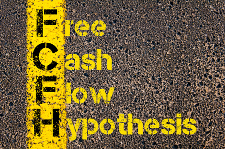 hipotesis: Concept image of Business Acronym FCFH as Free Cash Flow Hypothesis written over road marking yellow paint line.