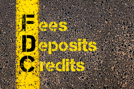 fees: Concept image of Business Acronym FDC as Fees, Deposits, and Credits written over road marking yellow paint line. Stock Photo
