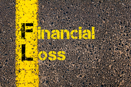 fl: Concept image of Business Acronym FL as Financial Loss written over road marking yellow paint line.