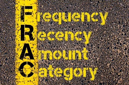 category: Concept image of Business Acronym FRAC as Frequency, Recency, Amount, and Category written over road marking yellow paint line.
