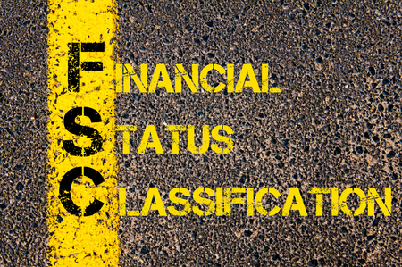 classification: Concept image of Business Acronym FSC as Financial Status Classification written over road marking yellow paint line. Stock Photo