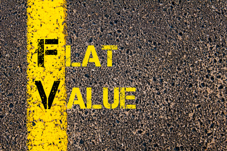 fv: Concept image of Business Acronym FV as Flat Value written over road marking yellow paint line.