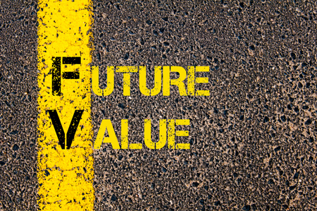 fv: Concept image of Business Acronym FV as Future Value written over road marking yellow paint line.