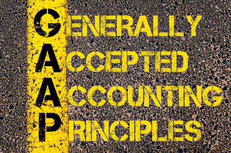 principles: Concept image of Business Acronym GAAP as Generally Accepted Accounting Principles written over road marking yellow paint line.