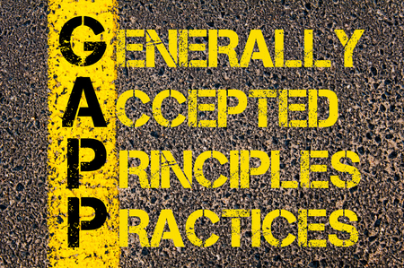 principles: Concept image of Business Acronym GAPP as Generally Accepted Principles and Practices written over road marking yellow paint line. Stock Photo