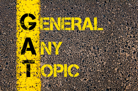 gat: Concept image of Business Acronym GAT as General Any Topic written over road marking yellow paint line. Archivio Fotografico