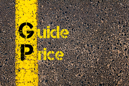 gp: Concept image of Business Acronym GP as Guide Price written over road marking yellow paint line.