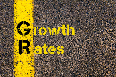gr: Concept image of Business Acronym GR as Growth Rates written over road marking yellow paint line.