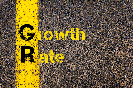 gr: Concept image of Business Acronym GR as Growth Rate written over road marking yellow paint line.