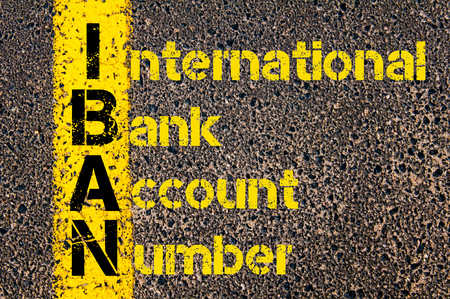international bank account number: Concept image of Business Acronym IBAN as International Bank Account Number written over road marking yellow paint line. Stock Photo