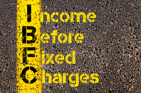 fixed line: Concept image of Business Acronym IBFC as Income Before Fixed Charges written over road marking yellow paint line.