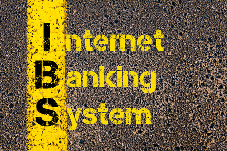 ibs: Concept image of Business Acronym IBS as Internet Banking System written over road marking yellow paint line.