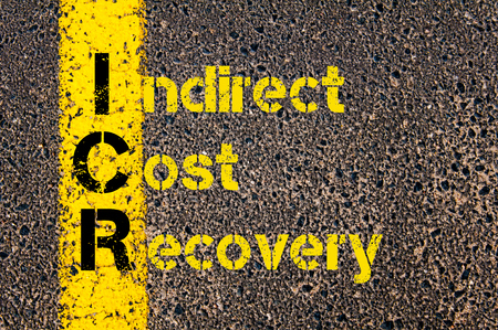 indirect: Concept image of Business Acronym ICR as Indirect Cost Recovery written over road marking yellow paint line.