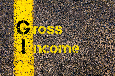 gi: Concept image of Business Acronym GI as Gross Income written over road marking yellow paint line.