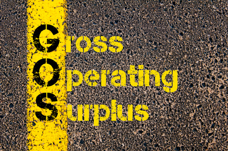 Concept image of Business Acronym GOS as Gross Operating Surplus written over road marking yellow paint line.