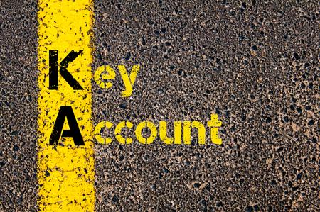 ka: Concept image of Business Acronym KA as Key Account written over road marking yellow paint line.