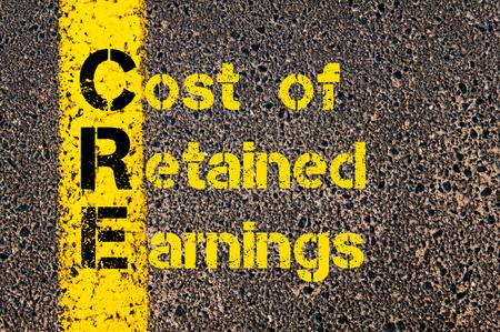 retained: Imagen del concepto del acrónimo negocios CRE como el costo de los Resultados Acumulados escritos a lo largo marcando la línea de pintura de color amarillo carretera. Foto de archivo