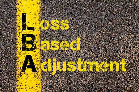 adjustment: Concept image of Business Acronym LBA as Loss Based Adjustment written over road marking yellow paint line. Stock Photo
