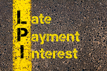 financial guidance: Concept image of Business Acronym LPI as Late Payment Interest written over road marking yellow paint line.