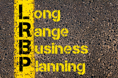 long range: Concept image of Business Acronym LRBP as Long Range Business Planning written over road marking yellow paint line.