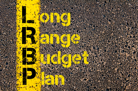 long range: Concept image of Business Acronym LRBP as Long Range Budget Plan written over road marking yellow paint line.