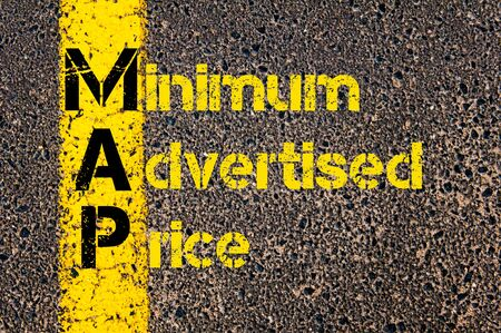 advertised: Concept image of Business Acronym MAP as Minimum Advertised Price written over road marking yellow paint line. Stock Photo