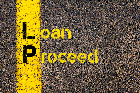 proceed: Concept image of Business Acronym LP as Loan Proceed written over road marking yellow paint line. Stock Photo