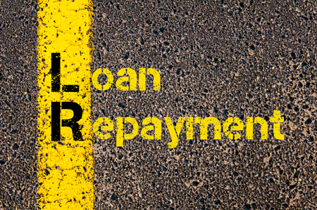 repayment: Concept image of Business Acronym LR as Loan Repayment written over road marking yellow paint line.