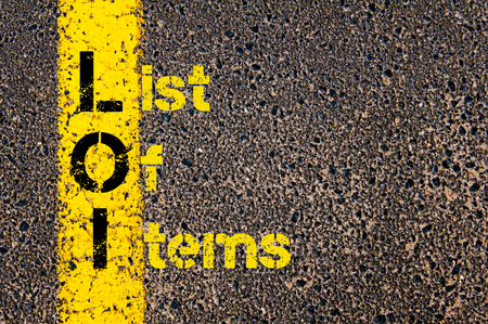 loi: Concept image of Business Acronym LOI as List Of Items written over road marking yellow paint line.