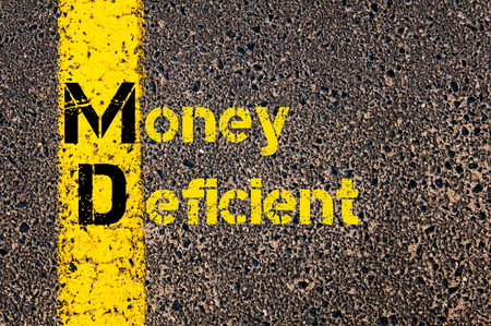 deficient: Concept image of Business Acronym MD as Money Deficient written over road marking yellow paint line. Stock Photo