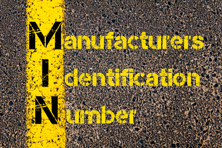 manufacturers: Concept image of Business Acronym MIN as Manufacturers Identification Number written over road marking yellow paint line.