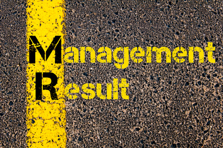 mr: Concept image of Business Acronym  MR as Management Result written over road marking yellow paint line.