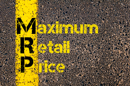 requirement: Concept image of Business Acronym MRP as Material Requirement Planning written over road marking yellow paint line. Stock Photo