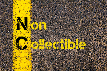 Concept image of Business Acronym  NC as Non Collectible written over road marking yellow paint line.