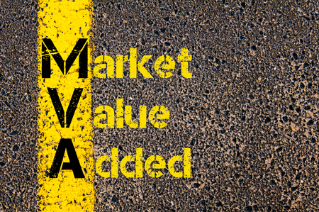 mva: Concept image of Business Acronym  MVA as Market Value Added written over road marking yellow paint line. Stock Photo