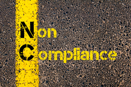 nc: Concept image of Business Acronym NC as Non Compliance written over road marking yellow paint line.