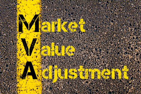 mva: Concept image of Business Acronym  MVA as Market Value Adjustment written over road marking yellow paint line.