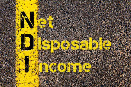 net income: Concept image of Business Acronym NDI as Net Disposable Income written over road marking yellow paint line.
