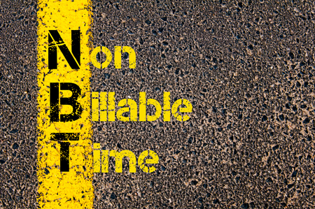 non marking: Concept image of Business Acronym  NBT as Non Billable Time written over road marking yellow paint line. Stock Photo