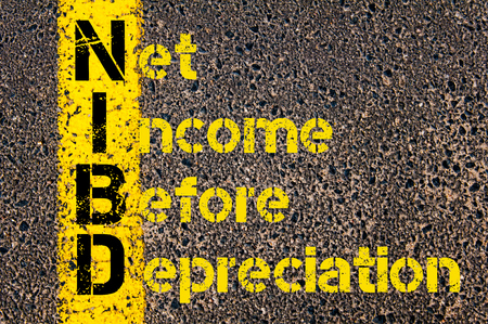 net income: Concept image of Business Acronym NIBD as Net Income Before Depreciation written over road marking yellow paint line.