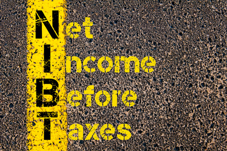 net income: Concept image of Business Acronym NIBT as Net Income Before Taxes written over road marking yellow paint line.
