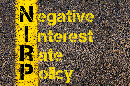 negative: Concept image of Business Acronym NIRP as Negative Interest Rate Policy written over road marking yellow paint line. Stock Photo