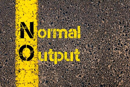 output: Concept image of Business Acronym NO as Normal Output written over road marking yellow paint line.