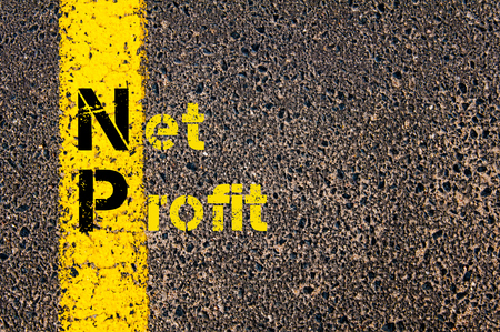 np: Concept image of Business Acronym NP as Net Profit written over road marking yellow paint line.