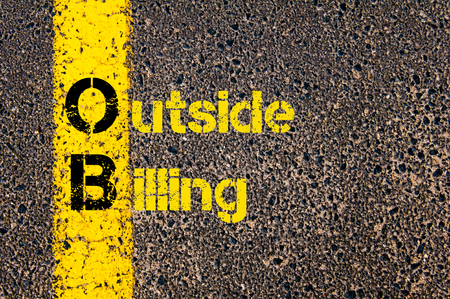 billing: Concept image of Accounting Business Acronym OB Outside Billing written over road marking yellow paint line.