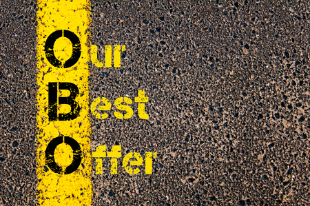 best guide: Concept image of Accounting Business Acronym OBO Our Best Offer written over road marking yellow paint line. Stock Photo