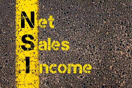 net income: Concept image of Business Acronym NSI Net Sales Income written over road marking yellow paint line. Stock Photo