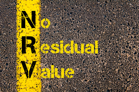 residual: Concept image of Business Acronym NRV as No Residual Value written over road marking yellow paint line.
