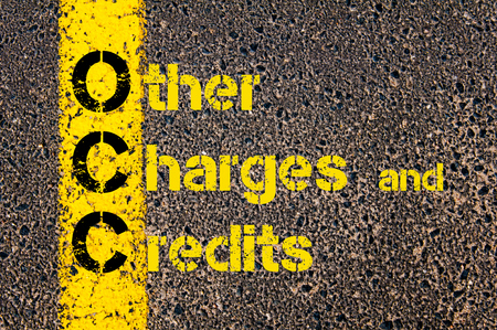 occ: Concept image of Accounting Business Acronym OCC Other Charges and Credits written over road marking yellow paint line.
