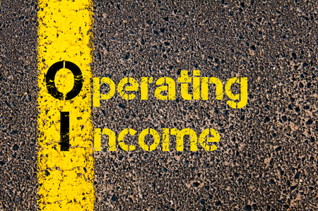 road marking: Concept image of Accounting Business Acronym OI Operating Income written over road marking yellow paint line. Stock Photo